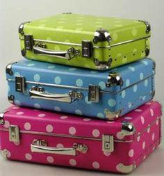 Dosen & Schachteln - Koffer aus Pappe 40cm blau/blaue Punkte - ein Designerstück von Schwabenkoffer bei DaWanda