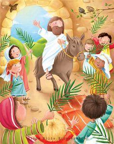 Já desde a entrada da cidade, os filhos dos hebreus portavam ramos de oliveiras e alegres acenavam com eles, estendiam mantos no chão para Jesus passar ...
