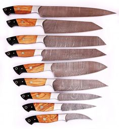 High Quality Hand forged Damascus Steel Chef/Kitchen Knife With Olive Wood&Horn Handle E-C OH. Damascus steel, it's a passion. The High Grade Damascus steel used for these blades consists of layers of low carbon &. Chef Knife Set, Knife Sets, Damascus Knife, Damascus Steel, Damascus Kitchen Knives, Metal Welding, Welding Art, Professional Kitchen, Best Pocket Knife
