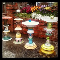 Here are my first four upcycled glass art birdbaths. I converted the second one … Here are my first four upcycled glass art birdbaths. I converted the second one from a birdbath to a hummingbird garden totem. I didnt like… Continue Reading → Garden Whimsy, Diy Garden, Garden Crafts, Garden Projects, Spring Garden, Upcycled Garden, Garden Junk, Garden Sheds, Flower Plates
