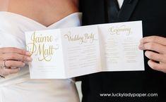 Glam Hand Lettered Calligraphy Shimmer Wedding Program by Luckyladypaper - CUSTOM CARD ORDER