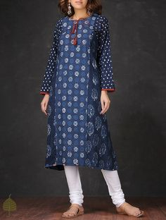 Buy Indigo White Natural dyed Dabu printed Round Neck Cotton Kurta by Jaypore Women Kurtas Online at Jaypore.com