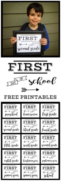 First Day of School Sign Free Printable poster. Preschool, Kindergarten, First…