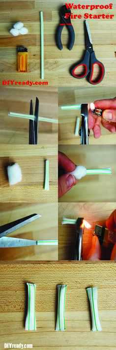 How to make Waterproof Straw Fire Starters. | Incredible survival tip. A nice detailed instructions and photos on how to do it.