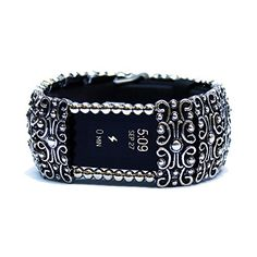 """FitBit Charge 2 Cover Bracelet: SANDRINGHAM SCROLL with Window, Antique Silver, 7 3/4\"""" * Want to know more, click on the image."""