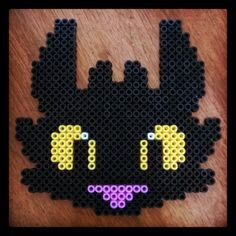 Toothless - How to train your dragon hama beads by skwirli