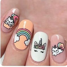 Want some ideas for wedding nail polish designs? This article is a collection of our favorite nail polish designs for your special day. Read for inspiration Unicorn Nails Designs, Unicorn Nail Art, Nail Polish Designs, Acrylic Nail Designs, Nail Art Designs, Nail Designs For Kids, Acrylic Nails, Animal Nail Designs, Cute Easy Nail Designs