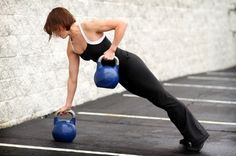Renegade Row. Begin in a plank position, like a pushup, with each hand on a dumbbell or kettlebell.  Row with one arm, pulling your arm, with the weight, toward your body until your hand is at your waist and elbow is at your side, squeezing between your shoulder blades.  Lower arm to starting position in plank.  Repeat the movement with the other arm and continue for time or repetitions.
