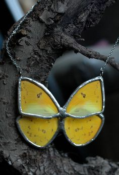Real yellow butterfly stained glass necklace by bugsandbones, $115.00