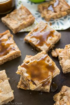 Caramel Apple Toffee Blondies with a homemade caramel sauce!