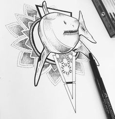 Shark dots and lines geometric Geometric Drawing, Shark, Dots, Drawings, Stitches, Sketches, Sharks, Drawing, Portrait