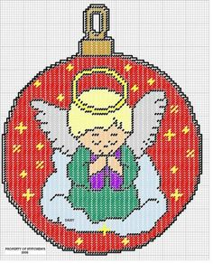 ANGEL ORNAMENT by DAISYDO*STITCHEMS -- WALL HANGING 2/2 Plastic Canvas Books, Plastic Canvas Stitches, Plastic Canvas Coasters, Plastic Canvas Ornaments, Plastic Canvas Crafts, Plastic Canvas Patterns, Christmas Wall Hangings, Christmas Crafts, Christmas Balls