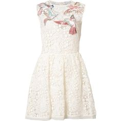 Red Valentino bird patches macramé dress ($1,895) ❤ liked on Polyvore featuring dresses, vestidos, white, red valentino, white day dress, white dress, red valentino dress and cotton dresses