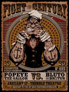 """Fight of the Century"" Hanzel Haro #geeky #cartoon #popeye"