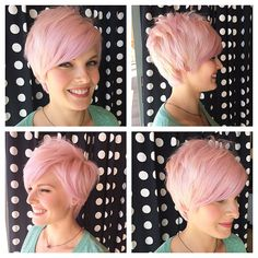 Pastel pink was such a fun color today. She looks good in any color. #pastelpink #pinkpixie #pixieoftheday #nothingbutpixies  #razorcut #azstylist #hairstylist #emilyandersonstyling