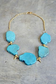 Turquoise Necklace with Gold Spikes by shopkei on Etsy, $59.00
