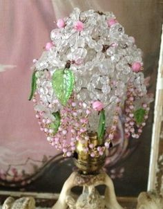 GORGEOUS * Cascading Beaded Bulb Cover * Pink and Green Beads * Crystal CHIC | #334175032