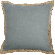 Jute Trim Pillow - Smoke Blue
