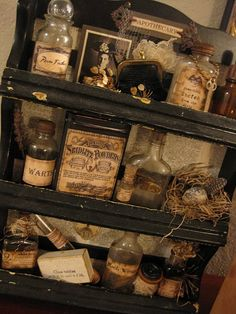 With all the free Halloween label printables online, no bottle is safe now! Love this shelf full!