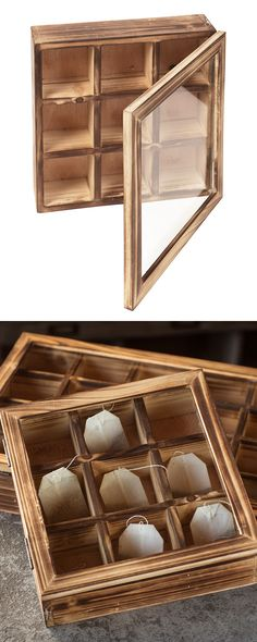Store your tea bags artfully with this unique wooden tea box. This rustic piece…
