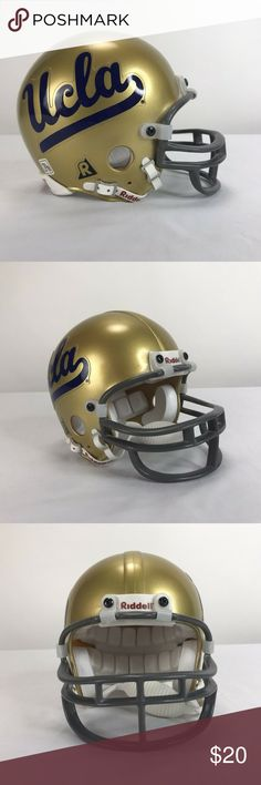 Riddell Mini Gold Football Helmet UCLA Bruins Riddell Mini Gold Football Helmet UCLA Bruins 3 Nice pre-owned condition, light signs of wear/use, no major flaws Sold as pictured Riddell Other Ucla Bruins Football, Football Helmets, Bicycle Helmet, Flaws, Signs, Nice, Gold, Things To Sell, Fashion