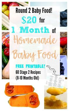 Stage 2 Homemade Baby Food, 1 Month, Stage 2 Baby Food Recipes, Free Printable of 60 Recipes 8 Month Old Baby Food, Baby Food 8 Months, Food Baby, Baby Recipes For 8 Month Old, Baby Puree Recipes, Pureed Food Recipes, Baby Led Weaning, Toddler Meals, Kids Meals