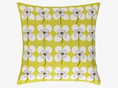 SAKURA GREENS Cotton 45 x 45cm yellow floral patterned cushion - HabitatUK