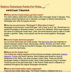 Facts about the Creek Indians
