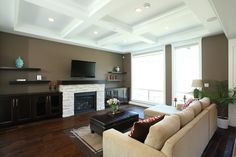 Living room with a white brick fireplace Vancouver, Custom Built Homes, Brick Fireplace, Living Rooms, Dark, Building, Modern, Home Decor, Lounges