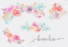 Lovely Watercolor Flowers Clip Art Collection. The Fresca Watercolor Flowers Clip Art is Ready for Your Next Project!