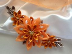 Dark Orange Kanzashi Flower Hair Clip - Bridal Headpiece,Wedding Hair Flowers, Hair Accessories   $25.00 USD