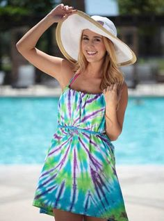 Cool & Colorful No-Sew T-shirt Swimsuit Cover-up | Tie Dye Projects