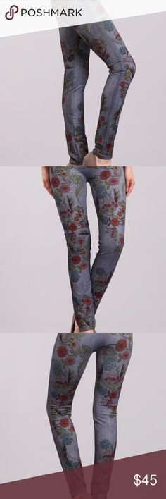 """🚨M.Rena""""s leggings 🌟M.Rena's Floral Leggings with waistband. -ONE SIZE- this are denim material and make your body look good! ~ THIS ARE A GREAT IDEA TO LOOK GOOD IN SPRING SEASON~ 