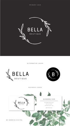 Premade logo design & branding kit- fully customizable boutique logo design, leaf logo, circle logo, brand identity.