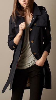 Mid-Length Faille Trench Coat with Removable Hood