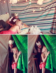 Couple takes their engagement photos in their homemade attic fort!