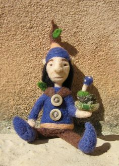 The Forest Man, needle felted fairy art doll