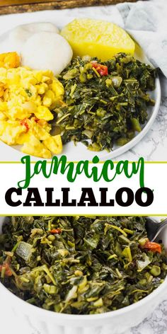 Jamaican Callaloo is a popular local staple green leafy vegetable cooked with onion garlic tomatoes thyme and Scotch bonnet pepper. Perfect healthy side dish for a tropical breakfast lunch or dinner. Jamaican Cuisine, Jamaican Dishes, Jamaican Recipes, Guyanese Recipes, Vegan Recipes Easy, Veggie Recipes, Vegetarian Recipes, Cooking Recipes, Oven Recipes