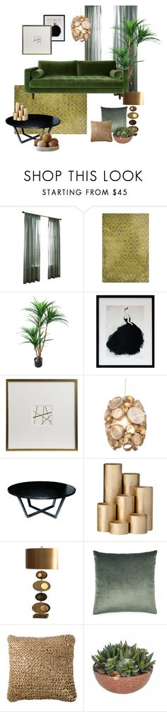 """Green living room"" by mscrn-info on Polyvore featuring interior, interiors, interior design, дом, home decor, interior decorating, Safavieh, Varaluz, Allan Copley Designs и ferm LIVING"