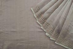 Grey!  an unqiue colour. Not easy to find in sarees tho Dot Handwoven Chanderi Silk Sari 1022510 - Saris / Evening Wear Saris - Parisera