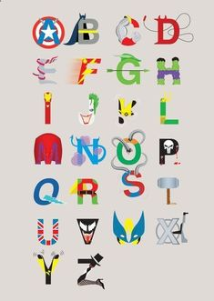 letters of the alphabet super heroes - Bing Images Superhero Alphabet, Superhero Room, Superhero Party, Batman Party, Alphabet Print, Baby Kind, Boy Room, Kids Bedroom, Bedroom Ideas