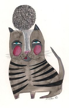 Cat with String  by Nathaniel Mather