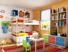 colour full small kids room on a budget
