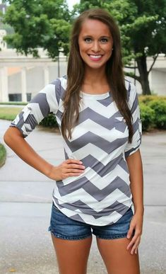 Grey chevron top, adorable way to transition in to fall!