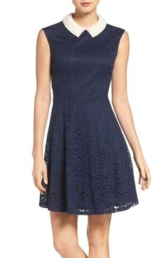 Main Image - Betsey Johnson Imitation Pearl & Lace Dress