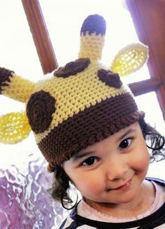 SUMMER SALE* Unisex Crochet Yellow and Brown Spotty Giraffe Beanie Hat (Or Choose Your Own Custom Colours!). Handmade with love by Babamoon - size 5T to Teen - Shop Now!  Use code SUMMER10 to save 10%