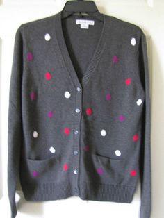 Liz Claiborne Dark Gray V Neck Cardigan 100% Cotton Sweater Sz M Ret $50 #LizClaiborne #Cardigan