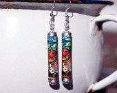 Koi Earrings Japanese Earrings Japanese Koi by FestivalReGlass