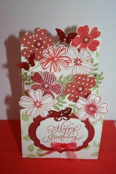 Sue's Red Polka Dot Flower Card by wren61 - Cards and Paper Crafts at Splitcoaststampers