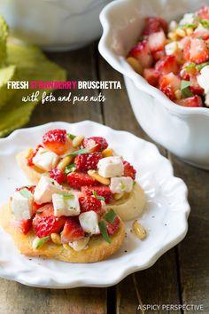 Amazing Fresh Strawberry Bruschetta on ASpicyPerspective.com #summer #party #bruschetta